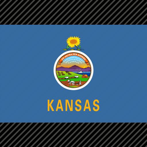 american, flag, kansas, rectangular, state icon
