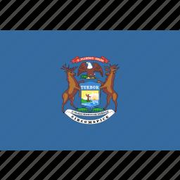 american, flag, michigan, rectangular, state icon
