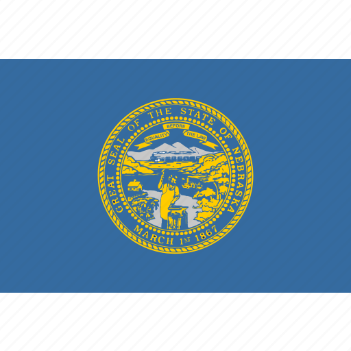 american, flag, nebraska, rectangular, state icon