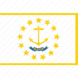 american, flag, island, rectangular, rhode, state icon