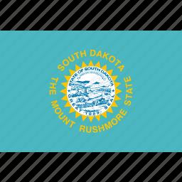 american, dakota, flag, rectangular, south, state icon