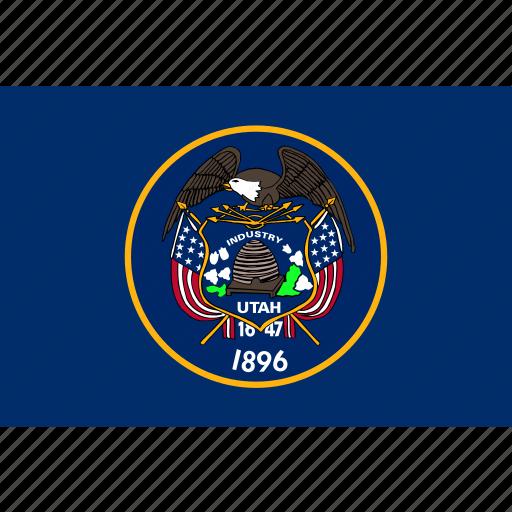 american, flag, rectangular, state, utah icon