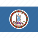 american, flag, rectangular, state, virginia icon