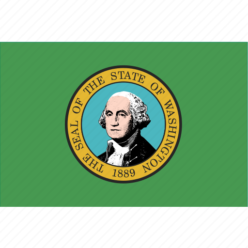 american, flag, rectangular, state, washington icon