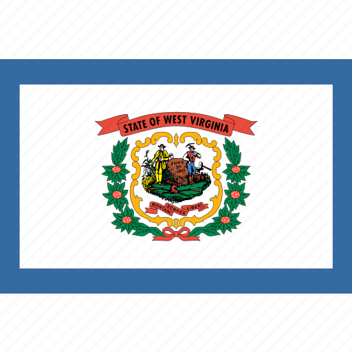 american, flag, rectangular, state, virginia, west icon