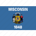 american, flag, rectangular, state, wisconsin icon