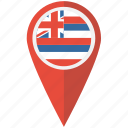 american, flag, hawaii, navigation, pin, state, us icon