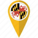 american, flag, maryland, pin, state, us icon