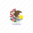 america, flag, illinois, state icon