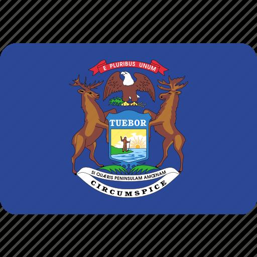 flag, michigan, state, usa icon