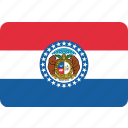 america, flag, missouri, state icon
