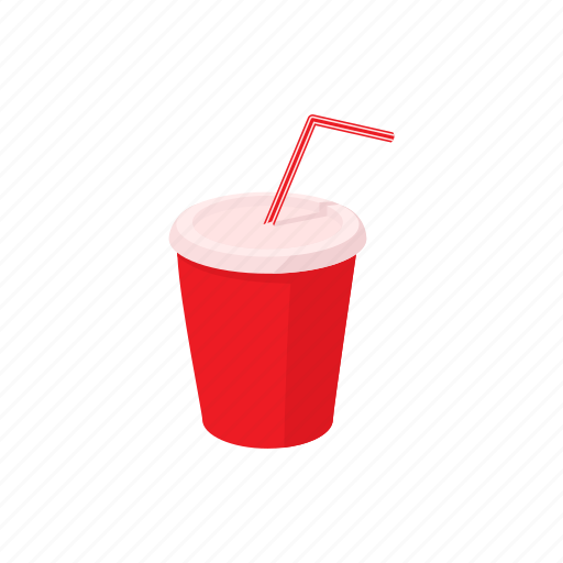 cartoon, container, cup, drink, paper, soda, straw icon
