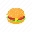 beef, bun, burger, cartoon, food, hamburger, sandwich icon