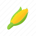 cartoon, corn, food, green, maize, vegetarian, yellow icon