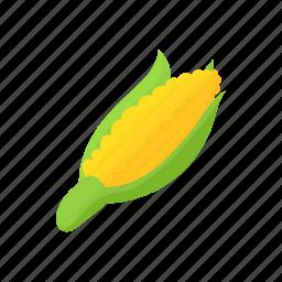 cartoon, corn, food, green, maize, vegetarian, yellow icon