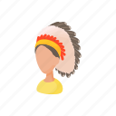 cartoon, chief, feather, head, indian, merindian, warrior icon
