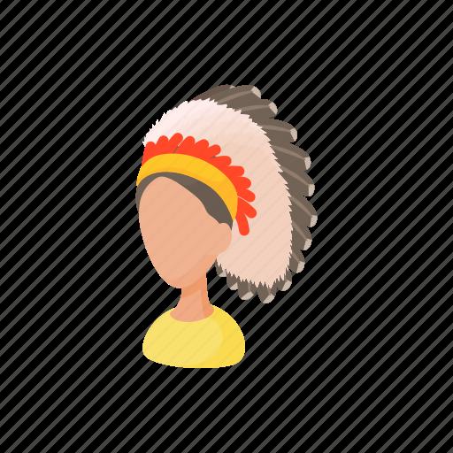 cartoon, chief, feather, head, indian, merindian, warrior icon