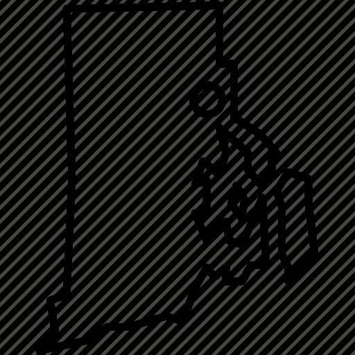 america, federal, map, providence, republic, rhodeisland, state icon