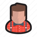 artist, hipster, millenial, novelist, plaid, retro, writer icon