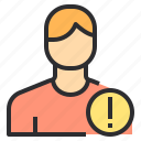 avatar, caution, male, people, profile, user icon