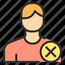 delete, male, stop, user icon