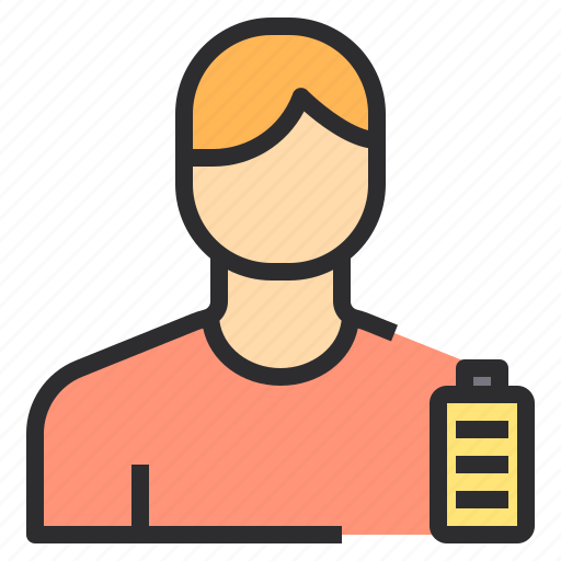 Battery, full, male, user icon - Download on Iconfinder