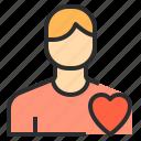 health, heart, male, user icon