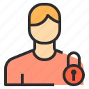 profile, people, lock, user, male, avatar icon