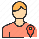 male, pointer, location, user icon