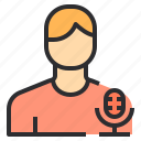 record, microphone, male, user icon