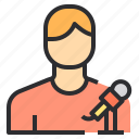 microphone, male, user, reporter icon