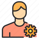 gear, male, setting, user icon