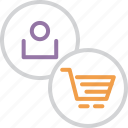account, basket, cart, online, shopping, trade, user icon