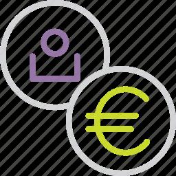 account, customer, euro, european, region, union, user icon