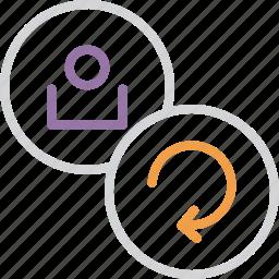 account, customer, details, refresh, renew, update, user icon