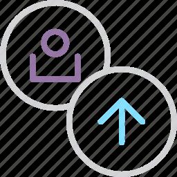 account, customer, profile, send, store, upload, user icon