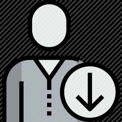 admin, arrow, avatar, down, face, person, user icon