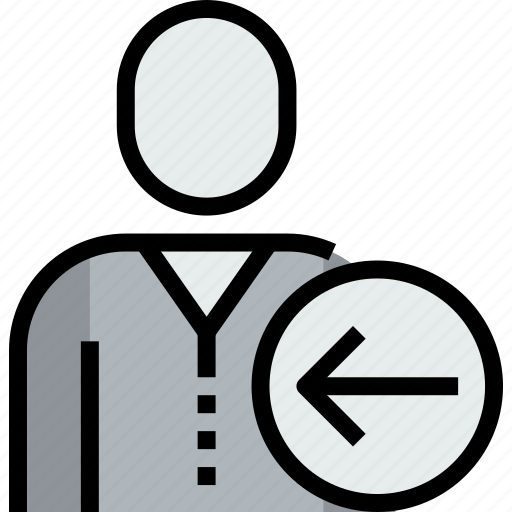 admin, arrow, avatar, face, left, person, user icon