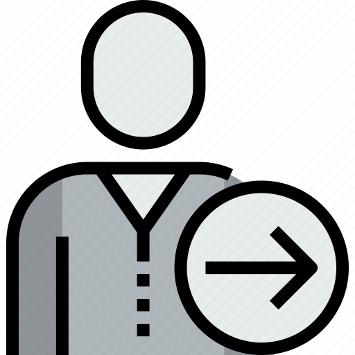 admin, arrow, avatar, face, person, right, user icon