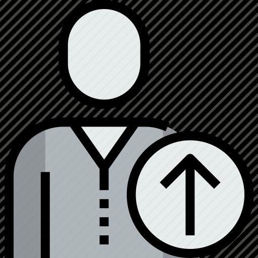 admin, arrow, avatar, face, person, up, user icon