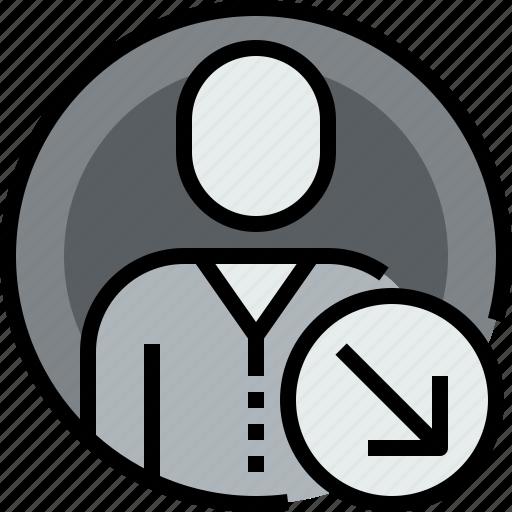 admin, arrow, avatar, circle, down, face, user icon