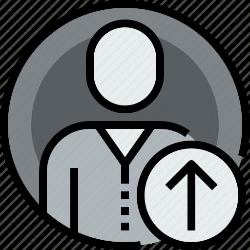admin, arrow, avatar, circle, face, up, user icon