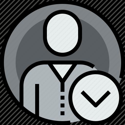 admin, avatar, circle, down, face, person, user icon
