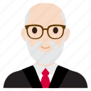 avatar, business, man, old, suit, teacher, user