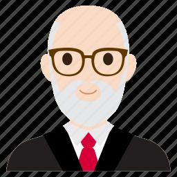 avatar, business, man, old, suit, teacher, user icon