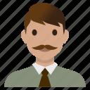 avatar, business, male, man, mustache, teacher, user