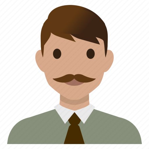 avatar, business, male, man, mustache, teacher, user icon