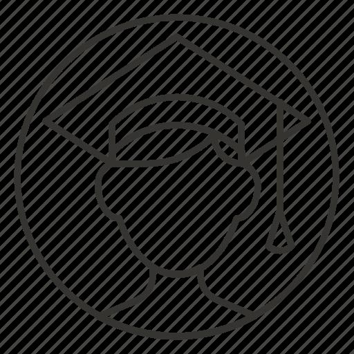 avatar, education, graduate, graduated, man, student, user icon
