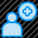 add, plus, user icon