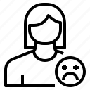 avatar, female, profile, sad, user icon